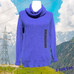 Cowl Neck Sweater Lightweight Long Sleeve Blue M